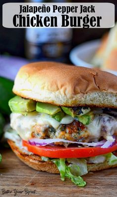 Jalapeno Pepper Jack Chicken Burger This Jalapeño Pepper Jack Chicken Burger is loaded with flavor and a wonderful change from the typical beef burger. Everybody will go crazy for them! via Butter Your Biscuit Jalapeno Recipes, Beef Burgers, Grilled Chicken Burgers, Ground Chicken Burgers, Veggie Burgers, Carne Picada, Wrap Sandwiches, Steak Sandwiches, Kitchen