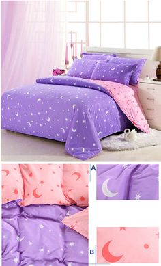 - White Bedding Ideas With Accent Pillows - Bedding DIY Videos Boutonniere - Bedding Sets Bohemian Urban Outfitters Purple Bedding Sets, Purple Rooms, White Bedding, Home Bedroom, Girls Bedroom, Bedroom Decor, Cute Bedroom Ideas, Aesthetic Room Decor, Home Design Decor