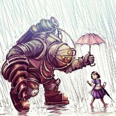 Bioshock - Big Daddy in the Rain by =maXKennedy on deviantART - personally the little one resembles Elizabeth from bioshock infinite to me. Bioshock Tattoo, Bioshock Game, Bioshock Series, Bioshock Rapture, Dead Space, Bioshock Artwork, Drawn Art, Fanart, Geniale Tattoos