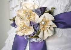 Hydrangea Bridal Sash Flower Pin in Cream White by rosyposydesigns