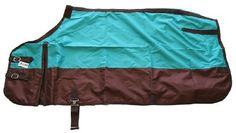"""600 Denier Horse Turnout Sheet Turquoise Blue by AJ. $42.00. Removable belly strap and elastic leg straps. 600 Denier """"Rip Stop"""" breathable water resistant poly nylon. Gussets for comfort & mobility. Double front opening with adjustable buckles. Color: Turquoise Blue/Brown. Premium horse turnout sheet. Made with 600 denier """"Rip Stop"""" water resistant and breathable poly nylon, beautiful color over brown, machine washable.Lining: No To Measure Your Horse: Use a s..."""