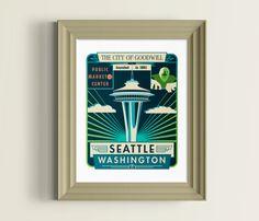 Seattle skyline  Seattle art  Seattle print  by nolibsdesign