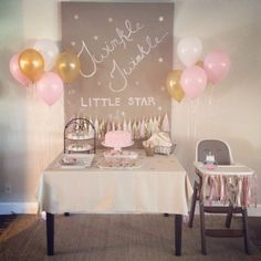 Party Background Twinkle Twinkle Little Star 34 Ideas Baby Girl 1st Birthday, Birthday Bash, First Birthday Parties, Birthday Party Themes, First Birthdays, Birthday Ideas, Star Wars Party, Fete Emma, Festa Party