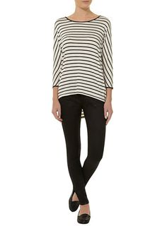 Stripe leather look  sleeve top