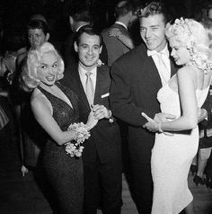 Those 1950s bomb-shells Jayne Mansfield and Mamie van Doren were not photoed together often - but here they are dancing with their hubbies at Ciro's Nightclub on Sunset in Hollywood in the late 50s -- (L to R) Mamie Van Doren, her husband Ray Anthony, Mickey Hargitay and Jayne Mansfield