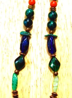 Showing some vintage glass beads and Azurite beads.