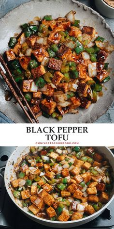 Crispy, pan-fried black pepper tofu and crunchy vegetables give you all the texture in a savory, peppery sauce - perfect for a healthy, vegan-friendly meal. {Vegan, Gluten-Free Adaptable}