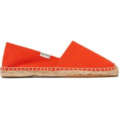 Soludos - Dali Canvas Espadrilles ($25) ❤ liked on Polyvore featuring shoes, sandals, orange, summer sandals, espadrille sandals, leopard print slip-on shoes, canvas espadrilles and summer shoes