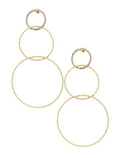 Jennifer Miller Jewelry Gold Plated Pave Faux Diamond And Linked Rope Hoop Pierced Earrings Diamonds