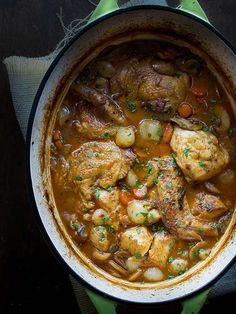 It doesn't get any easier or any more charming than a simmering pot of Coq au Vin Blanc served at a dinner party, or any given Wednesday night. The art of this rustic dish is captured in this easy-to-follow recipe from Taste Love and Nourish. All you need is a heavy pot and a loaf of crunchy bread to get started on a dinner that will never disappoint.