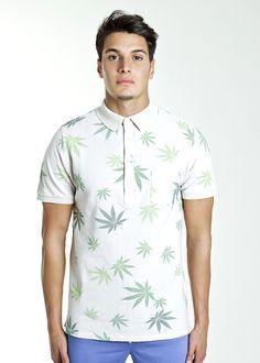 Polo Marjuana : Polo con stampe foglie di maria