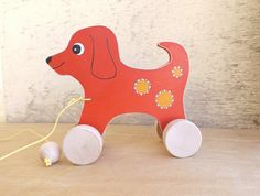 Wooden pull & push toy Dog in red handmade hand-painted toys