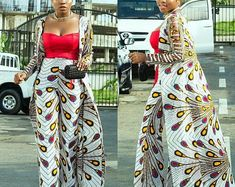Africa print Kimono jacket and matching pant/African dress/ Ankara dress/Party dress/Prom outfit/African clothing/Clothing for women/Dashiki African Fashion Ankara, African Print Fashion, African Wear, African Attire, African Women, African Dress, African Prints, African Print Pants, African Style