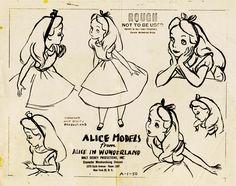 Vintage Disney Alice in Wonderland: Character Merchandising Division Model Sheet - Alice A-1-50