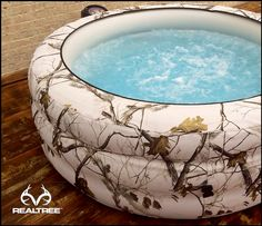 This is Realtree Snow Camo lightweight portable hot tub with 88 jets and can heat up to 104 Degrees Fahrenheit. Will be available Sep. 25th. #Realtreegear
