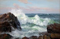 Charles Vickery 'California Breakers' Oil on canvas 24 x Landscape Art, Landscape Paintings, Ocean Scenes, Sea Art, Am Meer, Seascape Paintings, Ocean Waves, Original Paintings, Scenery