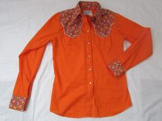 15-1014 Vintage 1970's Orange Rockmount Cowgirl by CajunRabbit
