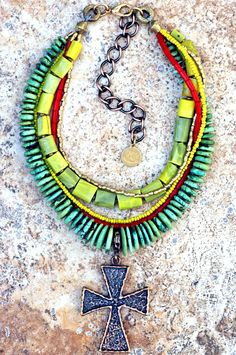 Jamaica: Green Red Yellow Turquoise Coral Bronze Celtic Cross Pendant Necklace