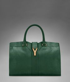 Medium YSL Cabas Chyc in Dark Green Leather - Perfect  Transition in to fall and winter <3