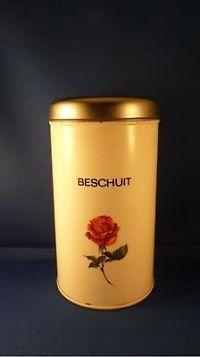 Beschuitbus Brabantia, wit met roos.