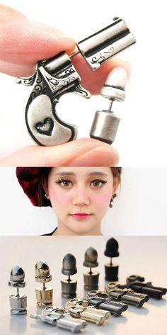 so cool earring studs ! Punk Plated Gun Bullet Woman Killer Stud Earrings #earring #studs #gun #punk