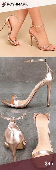 Rose Gold Heels Beautiful Rose Gold Heels. I love these shoes. But they don't fit me. So I'm reposhing. I'm super bummed but my loss is you guys reward!  ✨BRAND NEW IN BOX✨ Lulu's Shoes Heels
