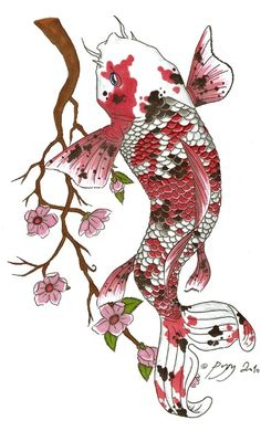 Koi and flower tattoo design