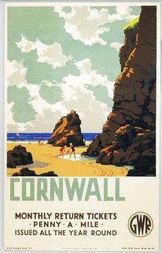 "English Railway Travel Poster Print, Cornwall, ""The Cornish Riviera"" England by GWR"