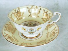 Vintage Pastel Yellow Tea Cup and Saucer Set