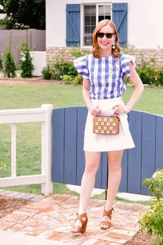 Date Night Outfit Ideas - Blue Gingham Top by Draper James, White Mini Skirt by J.Crew, Brown Leather Heeled Sandals by Bp. at Nordstrom, Zara Purse Night Outfits, Summer Outfits, Chic Summer Style, White Mini Skirts, J Crew Skirt, Draper James, Blue Gingham, Womens Fashion, Fashion Trends