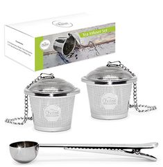 Tea Infuser Set by Chefast (Medium Size) - Combo Kit of 2 Single Cup Infusers & Metal Scoop with Bag Clip - Reusable Stainless Steel Strainers and Steepers for Loose Leaf Teas