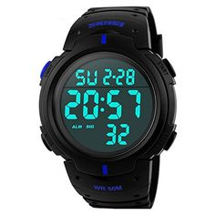 Gosasa Simple Sport Watch Display Watch Outdoor Men Watch Student Multifunction Digital WatchBlue * Check out this great product.(It is Amazon affiliate link) #25likes