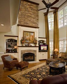 Most current Free of Charge two story Fireplace Remodel Strategies 6 klare Hacks Wohnzimmer umgestalten Ideen Fixer Upper Wohnzimmer mit fi umgestalten 6 klare Hacks Two Story Fireplace, Fireplace Built Ins, Home Fireplace, Fireplace Remodel, Fireplace Surrounds, Fireplace Design, Fireplace Stone, Barbacoa, Unfinished Basement Storage