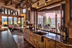 Kitchen | windows | timber frame | log home ideas | sink