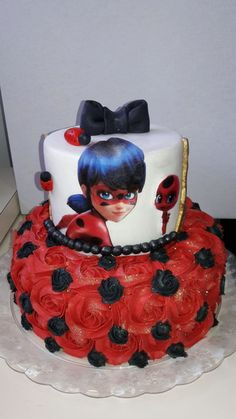 Bolo Lady Bug, Miraculous Ladybug Party, Birthday Parties, Birthday Cake, Bolo Fake, Slime, Desserts, Cakes, Tiered Cakes