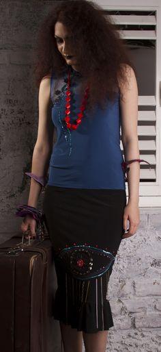Cobalt Yoke Bodice & Black Pencil Skirt