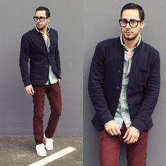 H&M Shirt, Club Monaco Blazer, Levi's Pants, Forever 21 Sneakers, Tom Ford Glasses