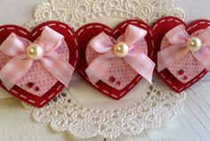Sweet Valentine's Day Embellishments Set of 3 door KindrasCreations, $1.49