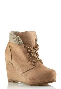 Cato Fashions Sweater Top Wedge Booties #CatoFashions