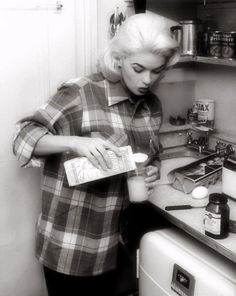 Jayne Mansfield in a Pendleton shirt