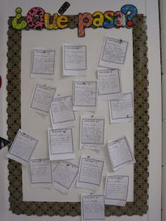 Current event center from 2nd grade dual-language classroom with printables and website link for news in Spanish