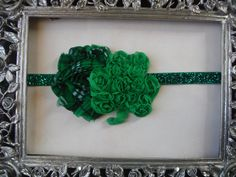 St Patrick's Day Rosette Shamrock and Plaid Shabby Rose on sparkle green elastic headband