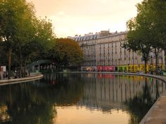 France, Paris, Canal St-Martin, sunset