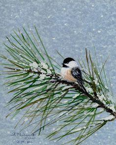 Chickadee Painting - Chickadee Set 8 - Bird 2 - Snow Chickadees by Kathleen McDermott Christmas Drawing, Christmas Paintings, Christmas Art, Xmas, Watercolor Bird, Watercolor Paintings, Bird Paintings, Acrylic Paintings, Images Vintage
