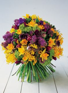 lilac and daffodil bouquets | bouquet with tulips, ranunculus, lilacs, viburnums, and daffodils ...