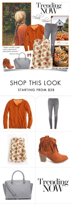 """""""Trending Now: Floral Blouse"""" by annabu ❤ liked on Polyvore featuring J.Crew, Dorothy Perkins and MICHAEL Michael Kors"""