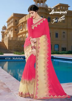aa35d0e54e Get this Stunning Pink & Beige Georgette Moti Stone Work Saree and Pink  Fancy Blouse with Jari Lace Border from Laxmipati.
