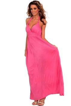 Color style Maxi Boho Summer Halter Celebrity Beach Party Dress d71b7f1b63aa