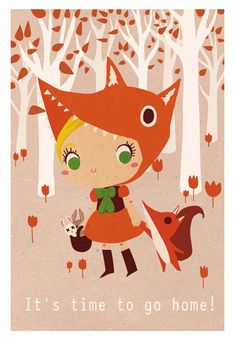 Illustration print: It's time to go home little fox. Limited /200 A5