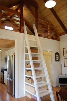 """Clever Ladder Storage in a Small Kanga Cabin/Cottage: """"Like"""" if you'd also do this for your loft! Simple but so smart.."""